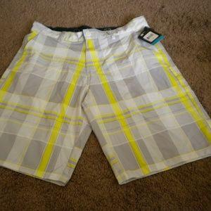 OP Mens 4 Way Stretch Plaid Shorts NWTs